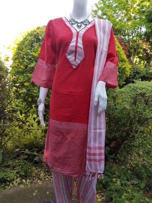 Deep Red Monipuri Salwar Kameez - XXLarge