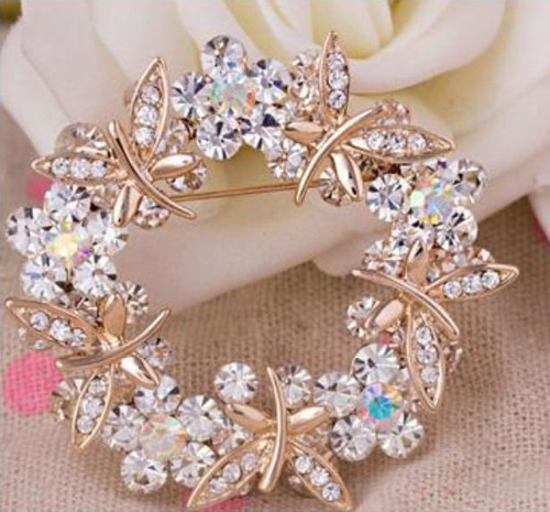 Double Layer Rhinestone Flower Wreath Brooch
