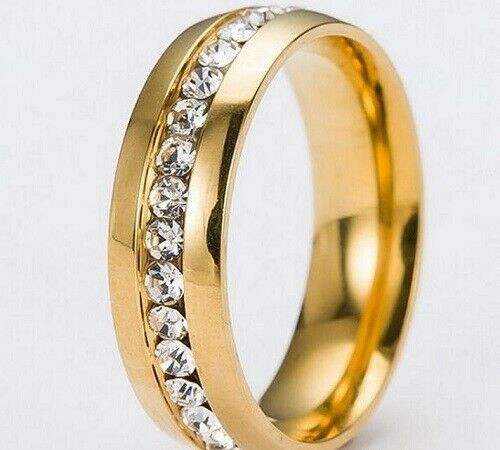 Golden Plated Comfortable Zircon Stainless Steel Rings 5mm Width