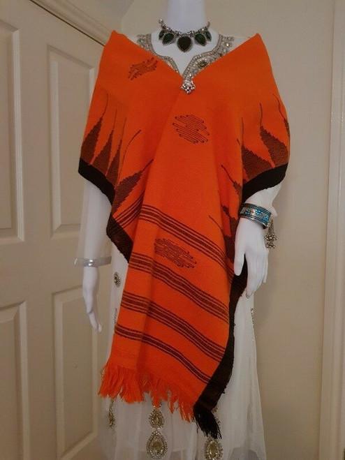 Orange and Black Striped Monipuri Shawl