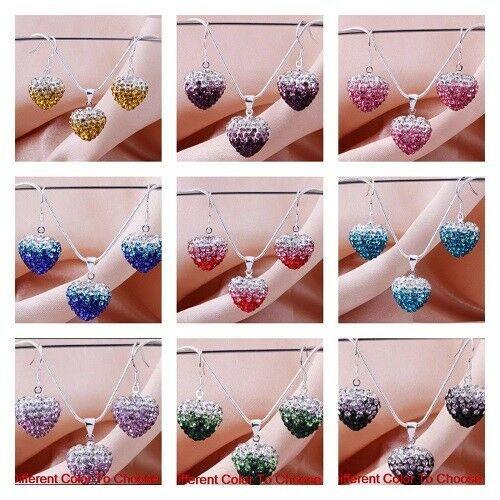 Ladies Clay Disco Heart shamballa necklace Drop earring Crystal Bead jewelry set