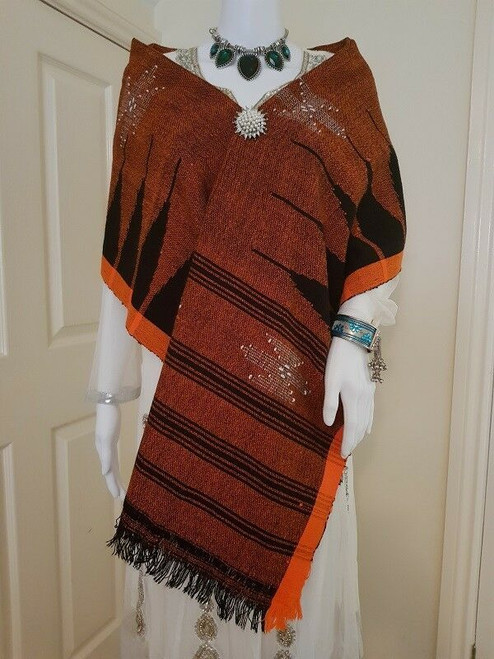 Maroon Black and Orange Monipuri Shawl