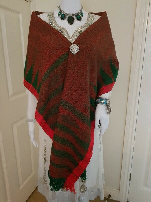 Maroon Green and Red Monipuri Shawl