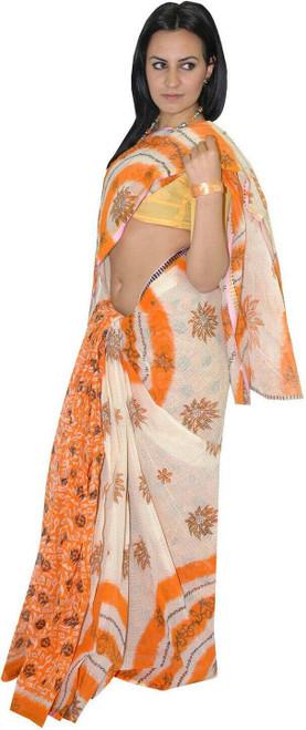 Orange & White Spring Flower Tangail Saree (TG3027)
