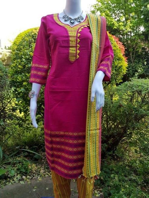 Pink Monipuri Salwar Kameez - Medium