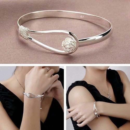 Rose 925 silver plated Vintage Flower Bangle Bracelet