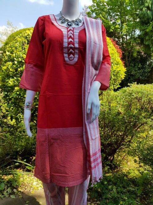 Summer Red Monipuri Salwar Kameez - Medium