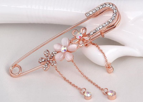 Three Flower Korean Pins with Crystal rhinestone Brooch