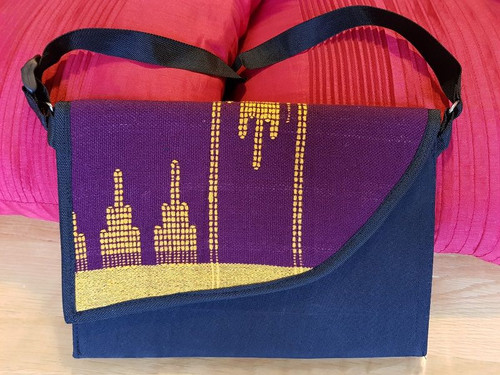 Purple and Blue Monipuri side Bag