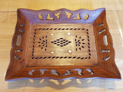 Two Leaf Hand Crafted Wooden Tray