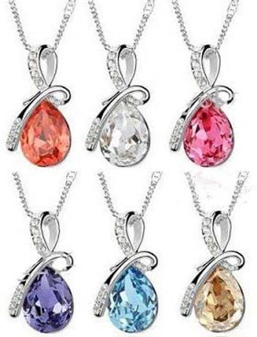 Unique Design Crystal Drop Short Necklace Pendant