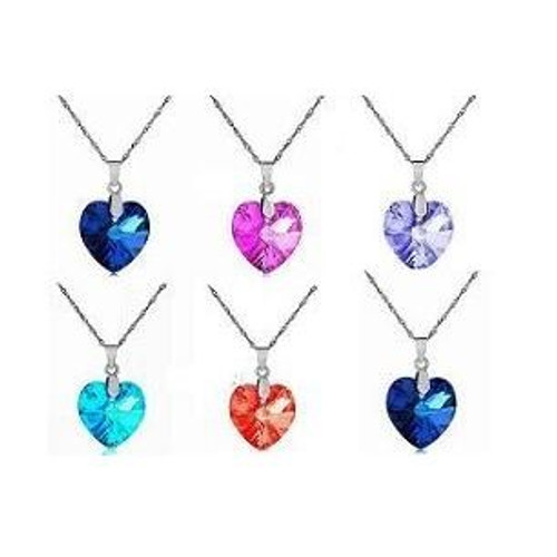 Ladies Heart Pendant Romantic Crystal Necklace