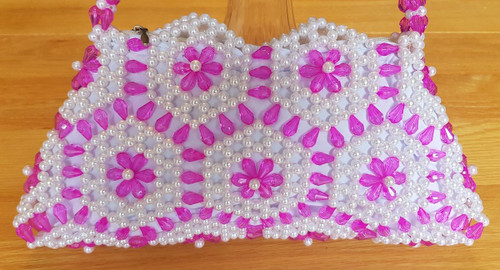 Hand Crafted White & Pink  Hex Flowers Small Hand Bag
