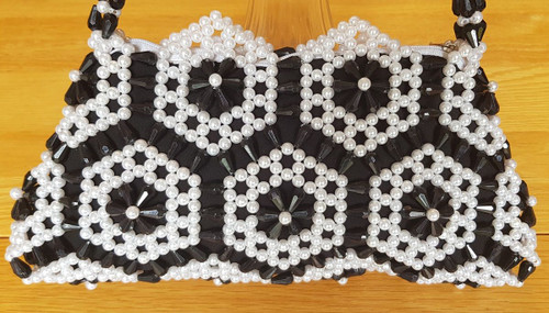Hand Crafted Black & White Hex Flowers Small Hand Bag