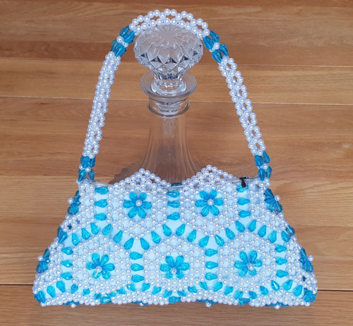 Hand Crafted White & Turquoise Hex Flowers Small Hand Bag