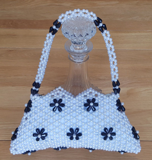 Hand Crafted White & Black Flowers Small Hand Bag