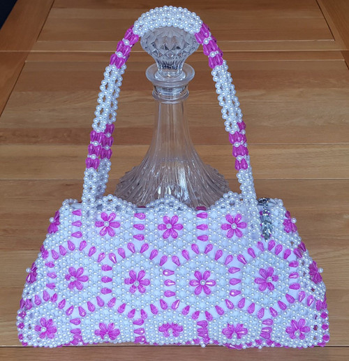 Hand Crafted White & Pink Curved Hex Flowers Large Hand Bag