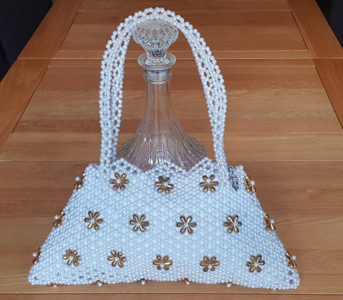Hand Crafted White & Gold Flowers Large Hand Bag