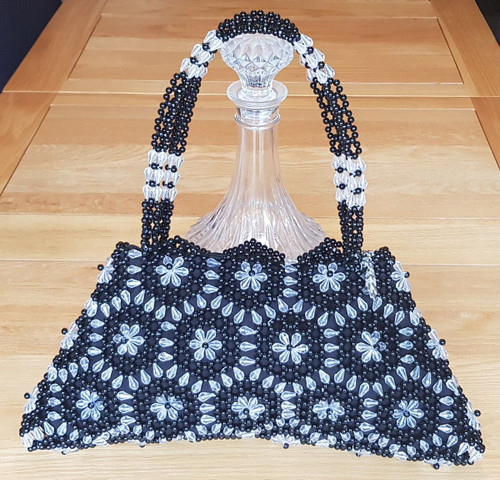 Hand Crafted Black & Clear Hex Flowers Large Hand Bag