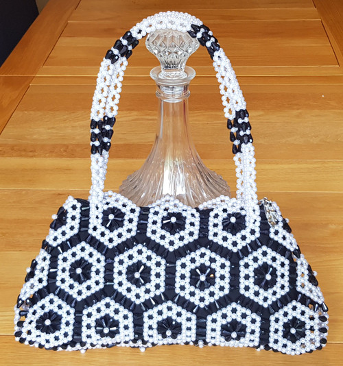 Hand Crafted Black & White Flowers Medium Hand Bag