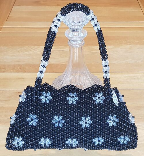 Hand Crafted Black & Clear Flowers Medium Hand Bag