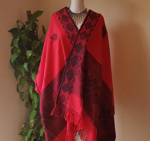 Red and Magenta Monipuri Shawl