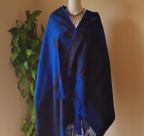 Royal Blue and Black Monipuri Shawl
