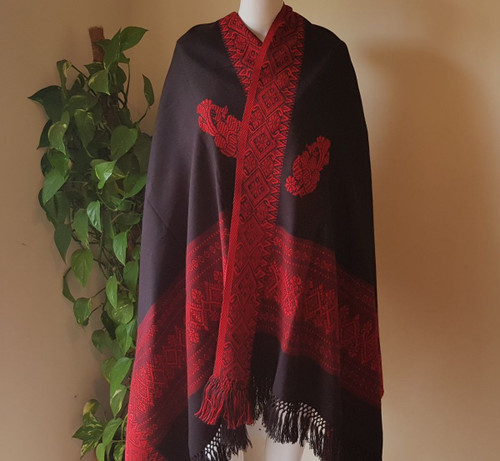 Black and Red Chequered Monipuri Shawl