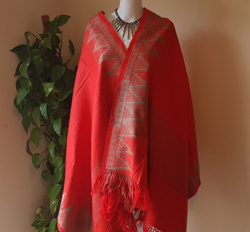 Deep Orange and Grey Monipuri Shawl