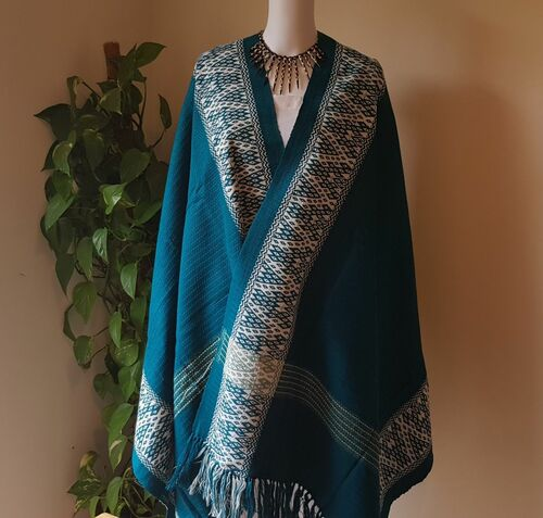 Teale Blue and White Monipuri Shawl