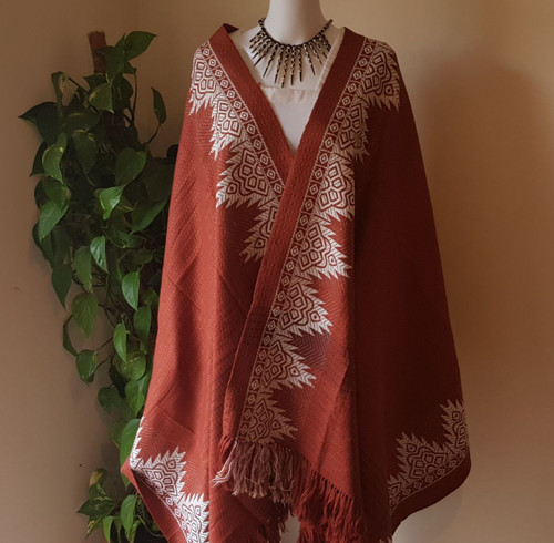 Chocolate Brown and White Monipuri Shawl