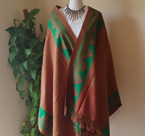Brown and Green Monipuri Shawl