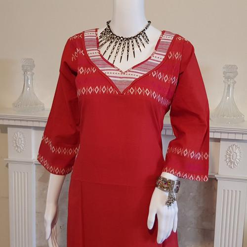 Red and White Monipuri Salwar Kameez - Medium