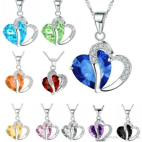 Natural Crystal Love heart Pendant Rhinestone Necklace