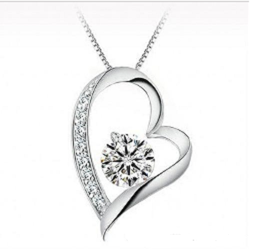 Austrian crystal Diamonds Love Heart Pendant Necklace