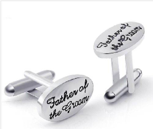 Father of the Groom' Silver Plated French Shirt Cuff Links