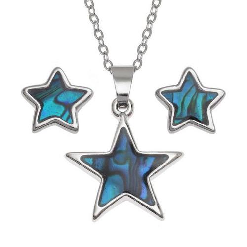Tide Jewellery inlaid blue Paua shell Star pendant and earring set