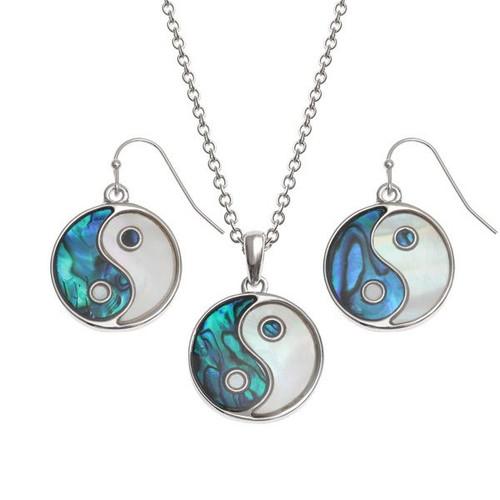 Tide Jewellery inlaid blue Paua shell Yin Yang pendant set