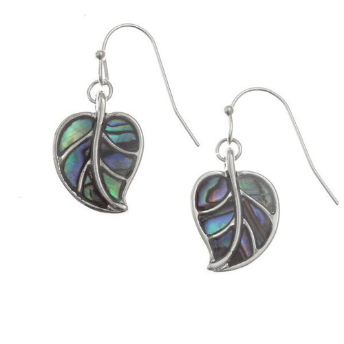 Tide Jewellery inlaid Paua shell leaf hook earrings