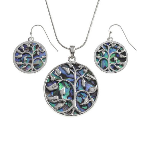 Tide Jewellery inlaid Paua shell Tree of life round pendant and earring set