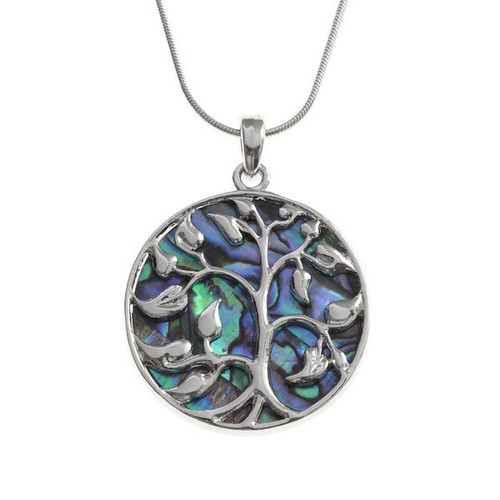 Tide Jewellery inlaid Paua shell Tree of life round pendant