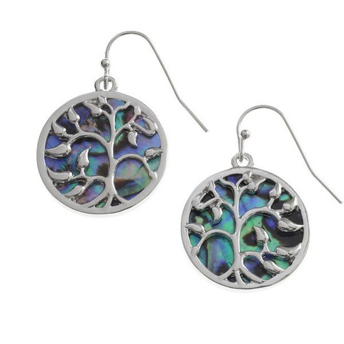 Tide Jewellery inlaid Paua shell tree of life round hook earrings