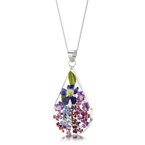 925 Silver Pendant - Real Flower - Large Teardrop