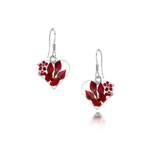 925 Silver drop Earrings - Real Flower Poppy/Rose - Med heart
