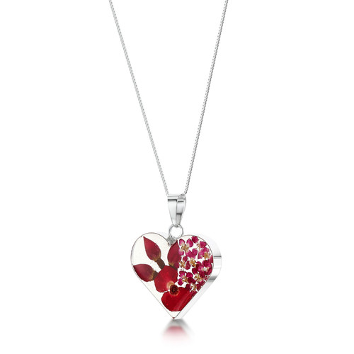 925 Silver Pendant - Real Flower Poppy/Rose - Med Heart