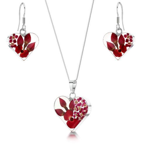 925 Silver Pendant & Earrings Set - Real Flower - Med Heart