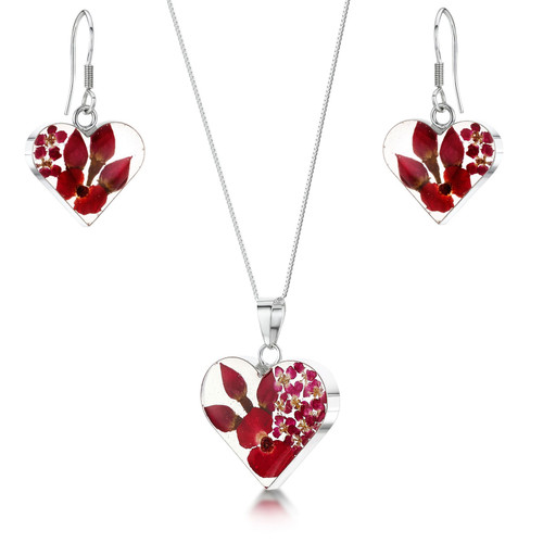 925 Silver Pendant & Earrings Set - Real Flower - Med Heart