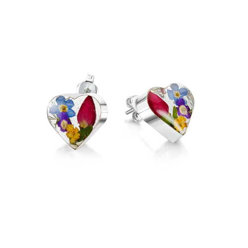 925 Silver stud Earrings - Mixed Real Flowers & yellow - Sm heart