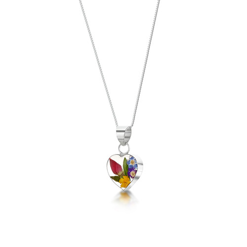 925 Silver Pendant - Mixed Real Flowers - xs heart