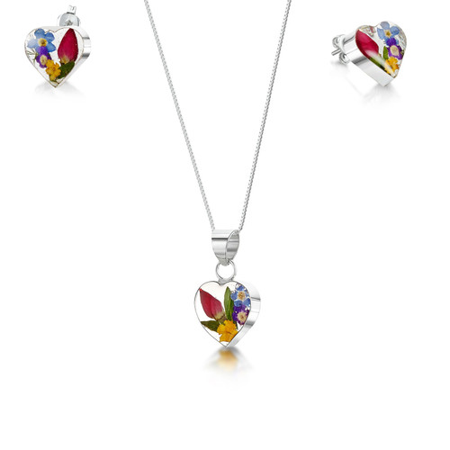 925 Silver Pendant & Earrings Set - Mixed Real Flowers - xs heart